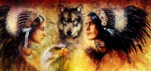 原住民とオオカミ