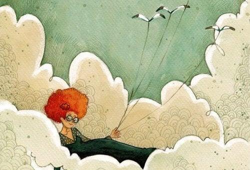 雲の中の女性