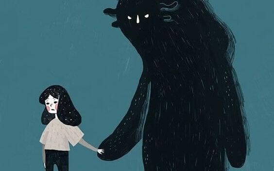 怪物の手を引く女の子