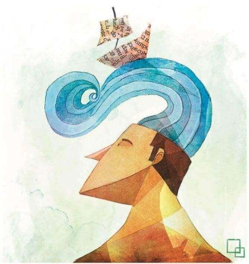 頭の上の波と船