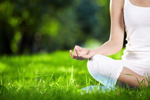 芝生で瞑想