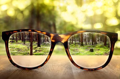 眼鏡を通して見る